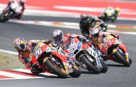 Marquez i Pedrosa na podium w Katalonii